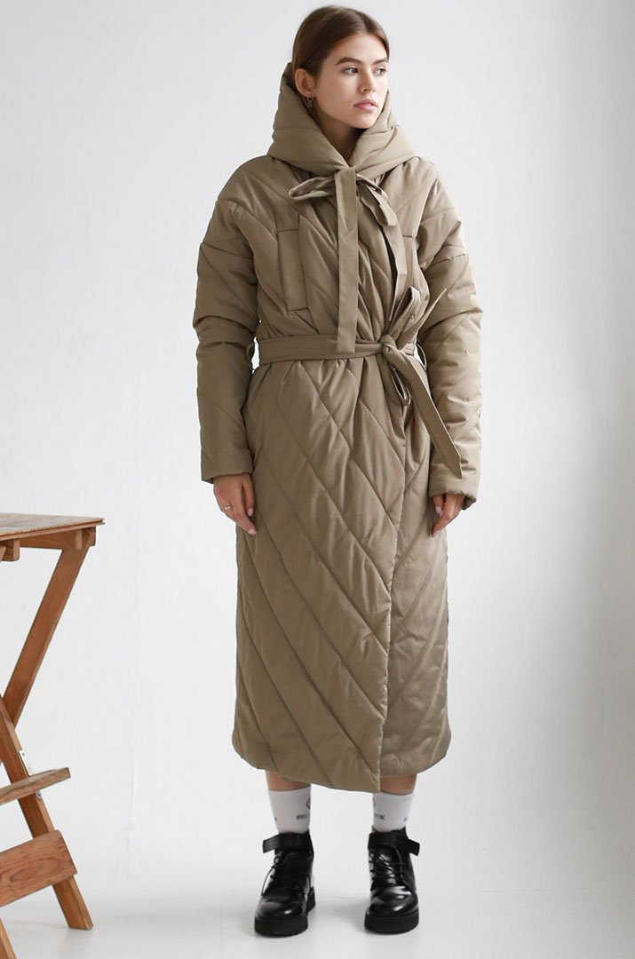 "Winter coat on a belt with a hood ""Irina Tydnyuk"""