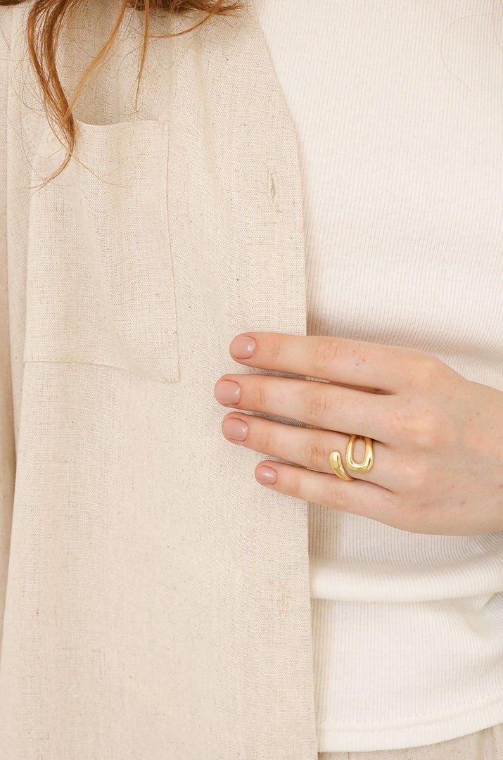 K108 Кольцо открытое серебро золотистое